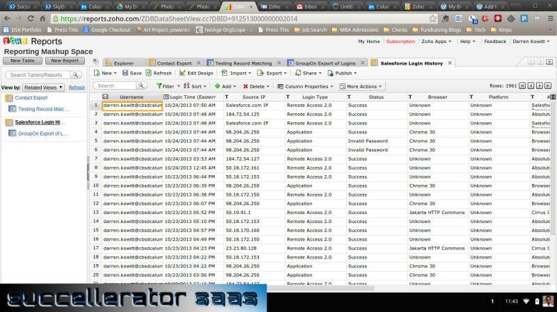 Salesforce Login Log Export - in Zoho Report (Table)