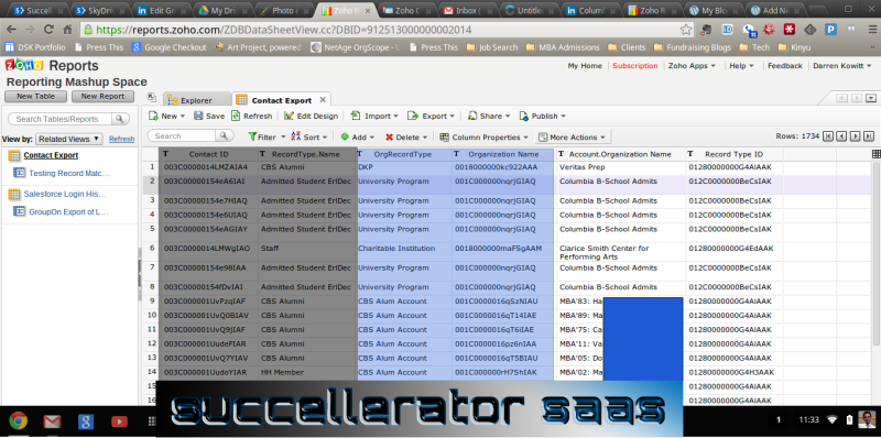 SF.CONTACT fields are shaed in Gray; SF.ACCOUNT fields are in Blue; Dark blue is redaction of Alumni personal data