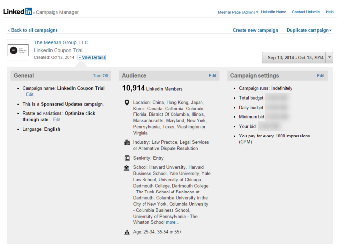 Screenshot from LinkedIn Ad Campaign Manager